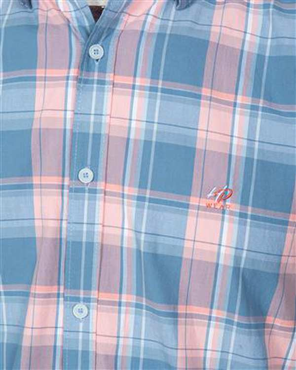 پیراهن مردانه آستین کوتاه نخی آبی گلبهی چهارخانه اچ پلاس
