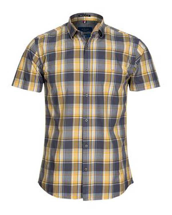 پیراهن مردانه آستین کوتاه نخی طوسی زرد چهارخانه اچ پلاس
