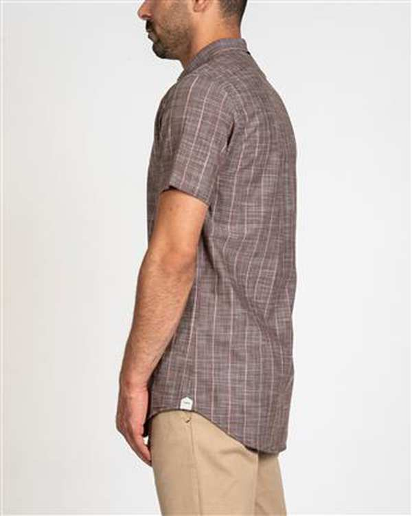 پیراهن مردانه آستین کوتاه لینن قهوه ای راه راه اچ پلاس
