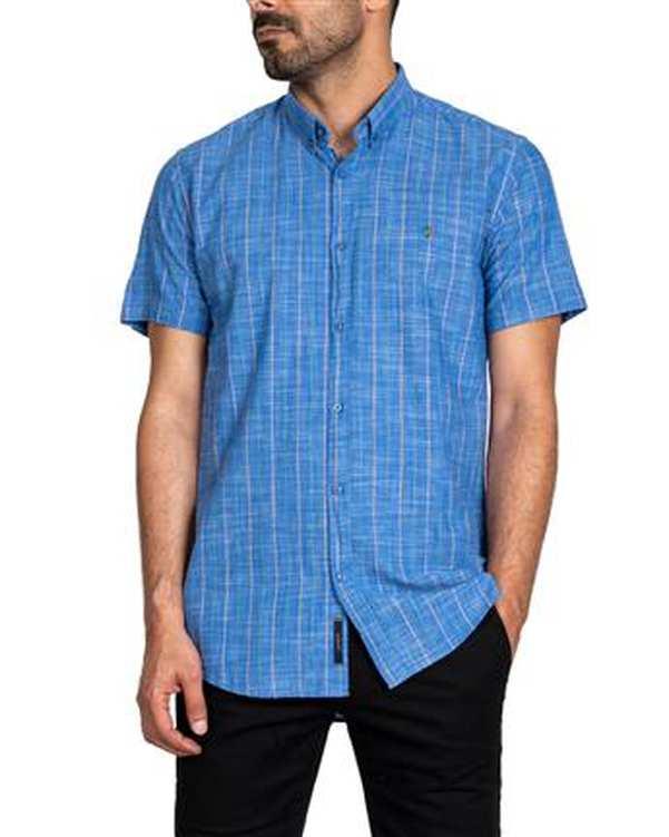پیراهن مردانه آستین کوتاه لینن آبی راه راه اچ پلاس