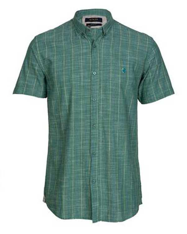 پیراهن مردانه آستین کوتاه لینن سبز راه راه اچ پلاس