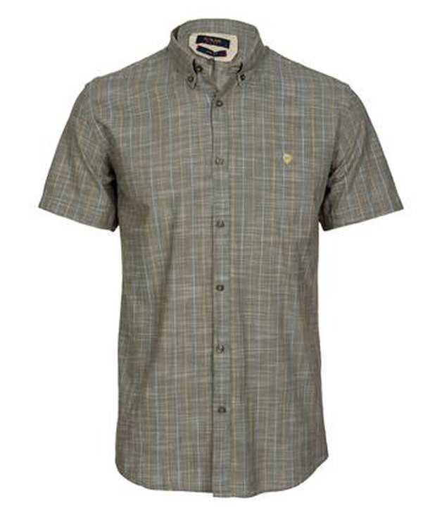 پیراهن مردانه آستین کوتاه نخی زیتونی راه راه اچ پلاس