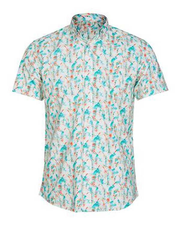 پیراهن مردانه آستین کوتاه نخی سبز نارنجی هاوایی اچ پلاس
