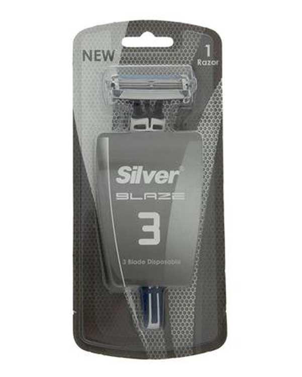 تیغ 3 لبه چند بار مصرف مدل Blaze3 سیلور