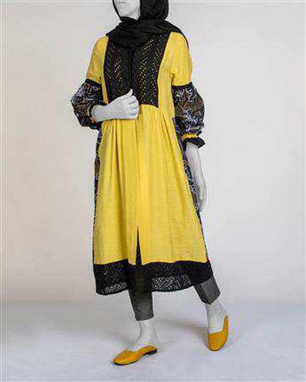 مانتو زنانه بلند زرد مشکی میس سان