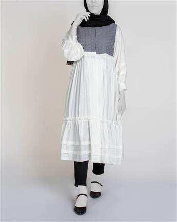 مانتو زنانه بلند سفید طوسی میس سان