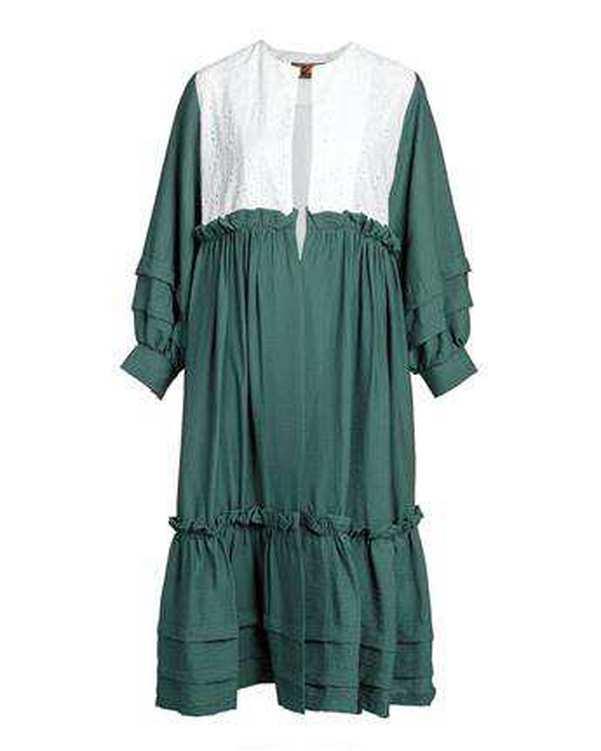 مانتو زنانه بلند سبز سفید میس سان