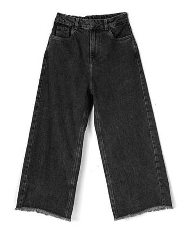 شلوار زنانه جین از بالا گشاد زغالی بورونیا