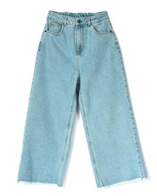 شلوار زنانه جین از بالا گشاد آبی روشن بورونیا