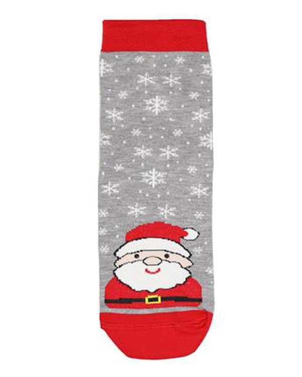 جوراب بچگانه نخی مدل سانتا طوسی قرمز مادر