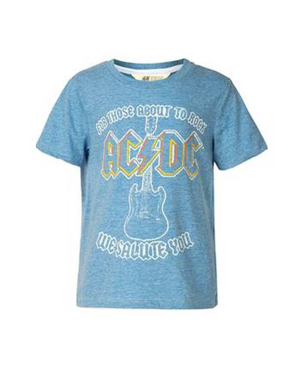 تی شرت پسرانه نخی یقه گرد آبی ملانژ اچ اند ام