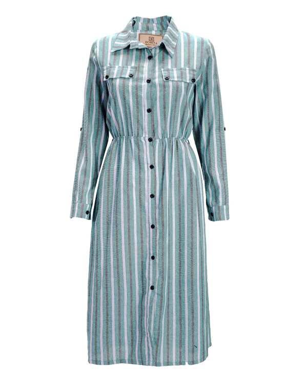 مانتو زنانه بلند لینن آبی مشکی راه راه دریتا