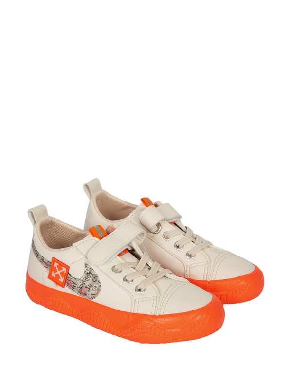 کفش بچگانه کژوال چسبی سفید نارنجی تاتی کیدز