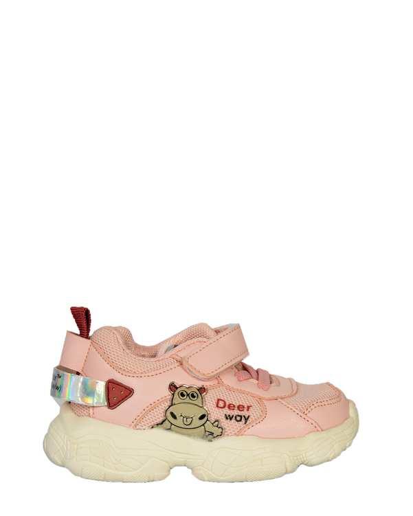 کفش دخترانه کژوال چسبی صورتی تاتی کیدز