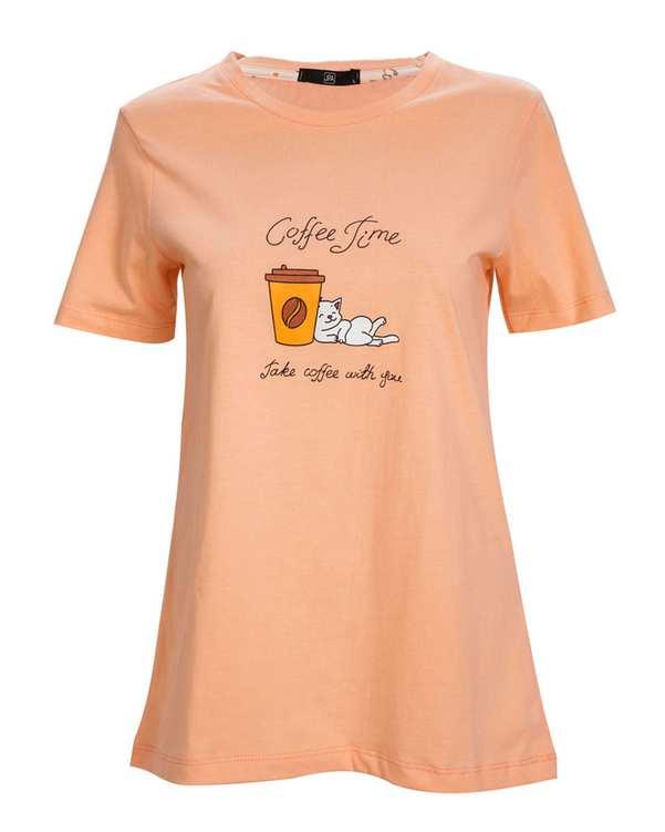 ست تی شرت و شلوار نخی هلویی سفیدجی پی ای