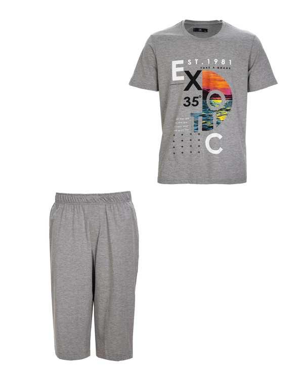 لباس راحتی مردانه سایز بزرگ نخی طوسیجی پی ای