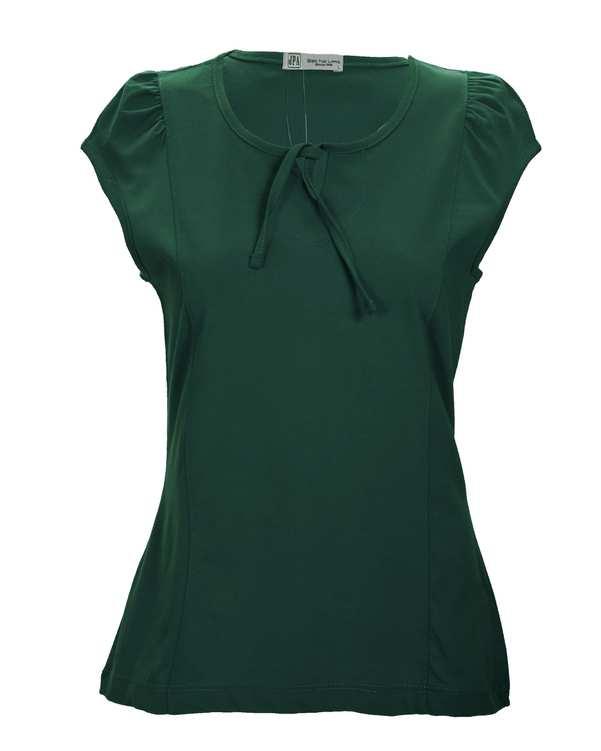 تاپ زنانه نخی یقه گرد سبز یشمی جی پی ای