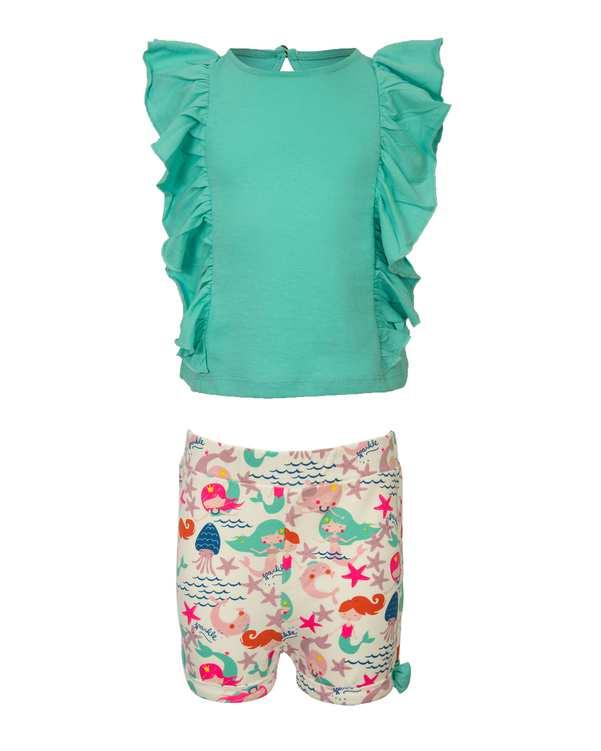 ست تاپ و شلوارک دخترانه نوزادی نخی سبز سفید زیپی