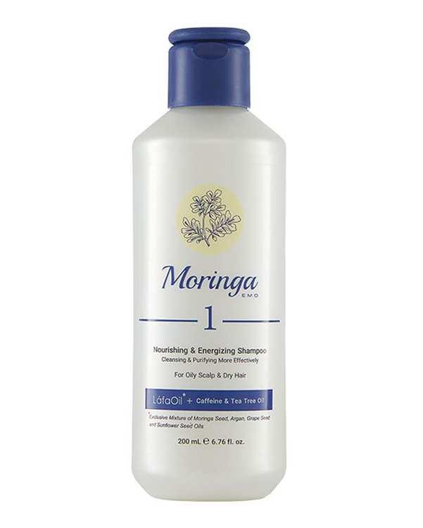 شامپو مغذی و انرژی بخش1 مناسب پوست سر چرب و موی خشک 200ml مورینگا امو