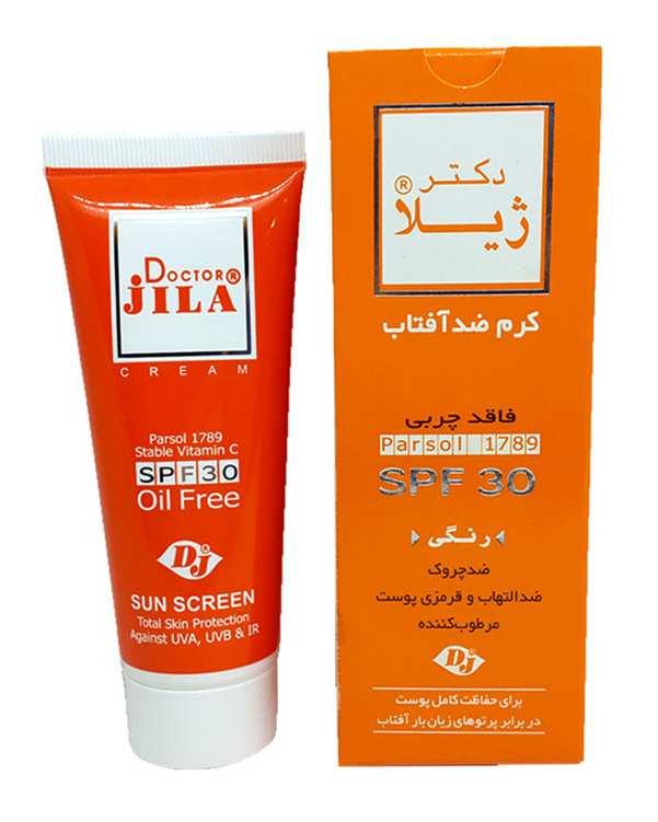 کرم ضد آفتاب رنگی SPF30 مناسب انواع پوست دکتر ژیلا