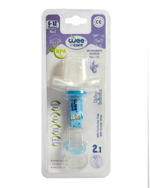پستانک ارتودنسی ضد حساسیت با زنجیر و درپوش محافظ کد P111 سایز 2 آبی وی کر