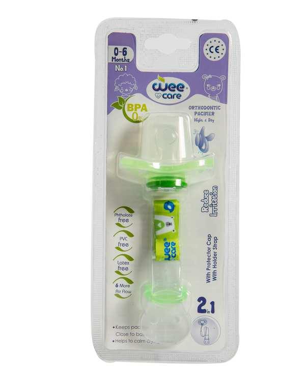 پستانک ارتودنسی ضد حساسیت با زنجیر و درپوش محافظ کد P110 سایز 1 سبز وی کر