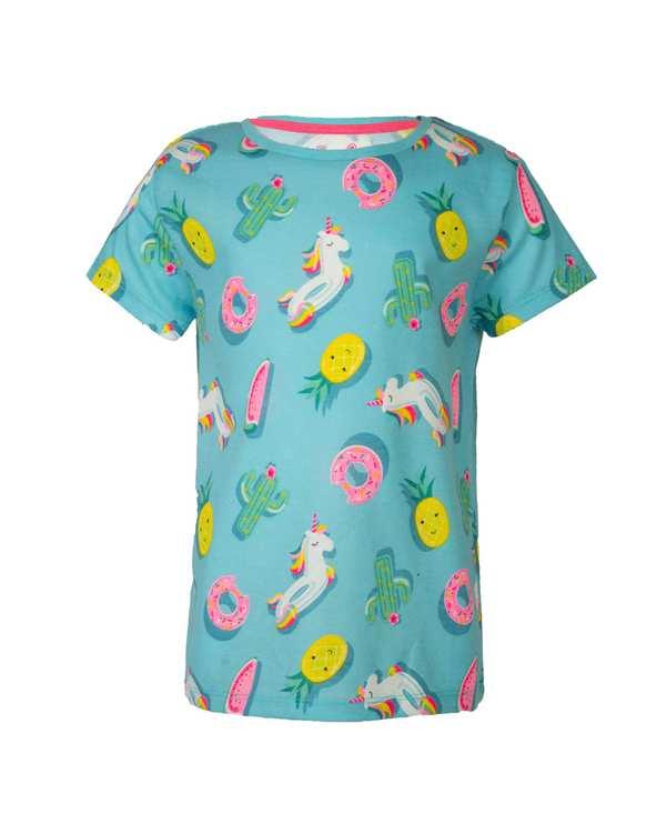 تی شرت دخترانه نخی یقه گرد آبی سام بانی