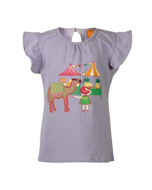 تی شرت دخترانه نخی یقه گرد بنفش پاسبلو