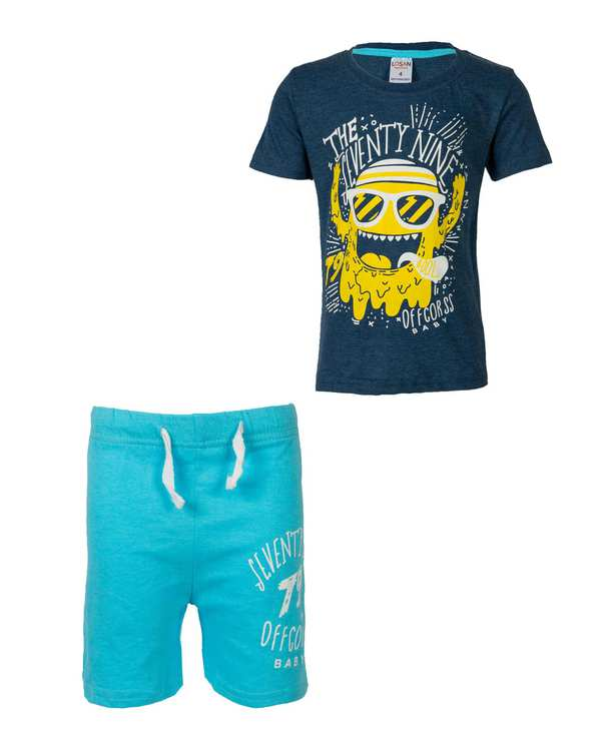 ست تی شرت و شلوارک پسرانه نخی آبی سرمه ای لوسان