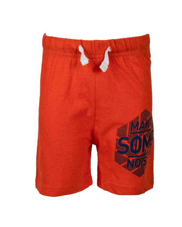 ست تی شرت و شلوارک پسرانه نخی شیری نارنجی لوسان