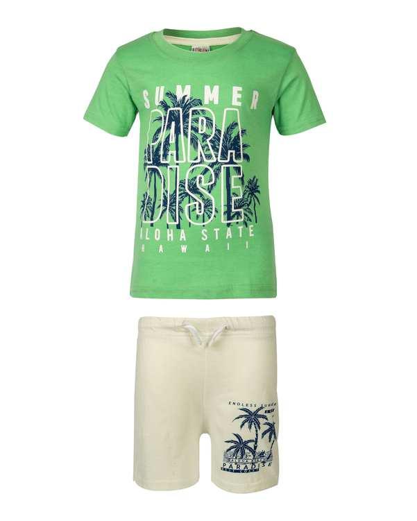 ست تی شرت و شلوارک پسرانه نخی سبز سفید لوسان