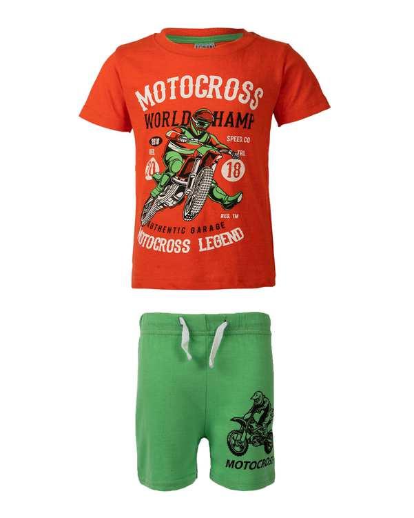 ست تی شرت و شلوارک پسرانه نخی نارنجی سبز لوسان