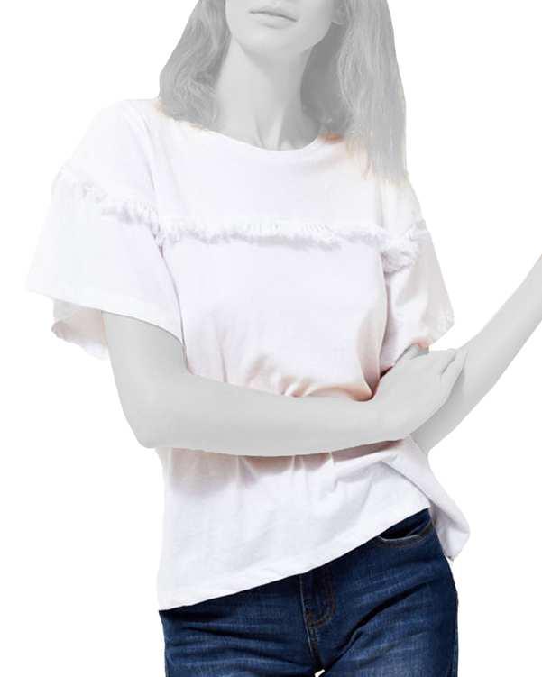 تی شرت زنانه آستین کلوش نخی یقه گردمودو