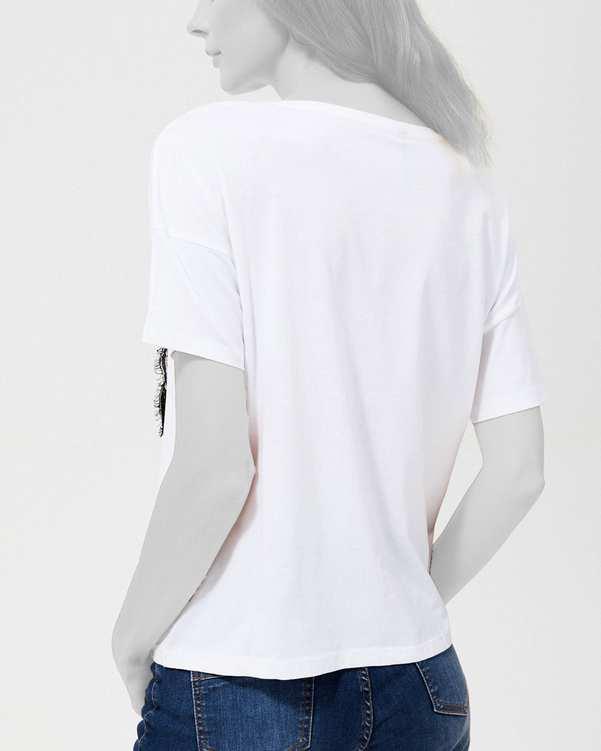 تی شرت زنانه نخی یقه گرد سفیدمودو