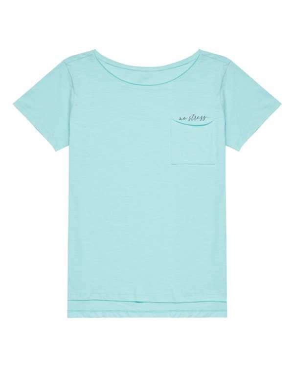 تی شرت زنانه نخی یقه گردمودو