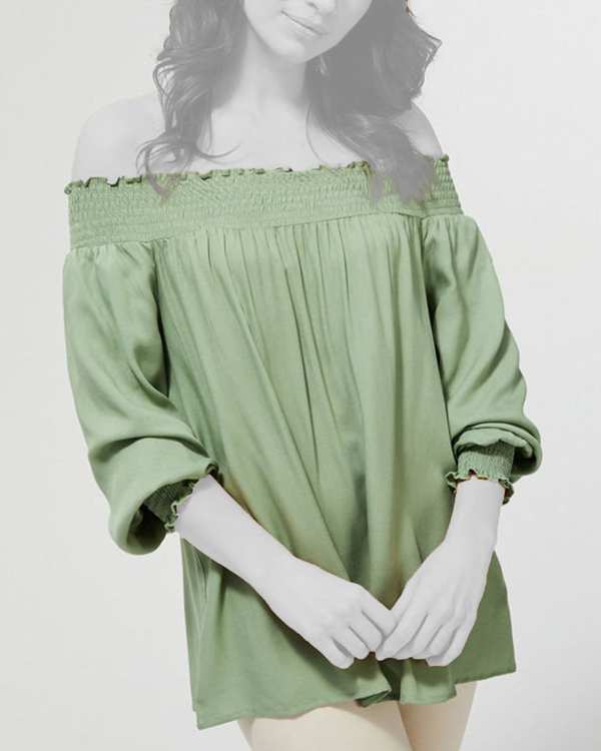 بلوز زنانه آف شولدر سبز مودو