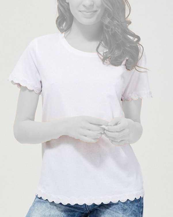 تی شرت زنانه نخی یقه گردسفید مودو