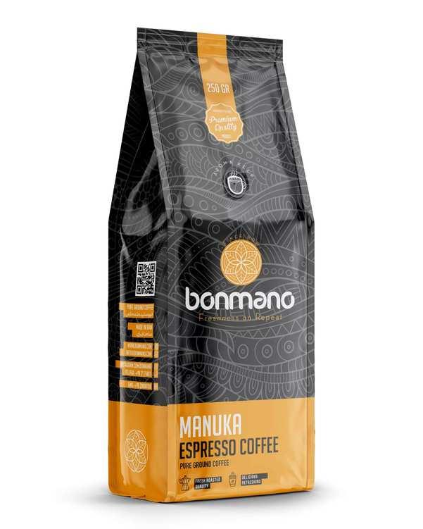 قهوه اسپرسو مانوکا 250 گرمی بن مانو
