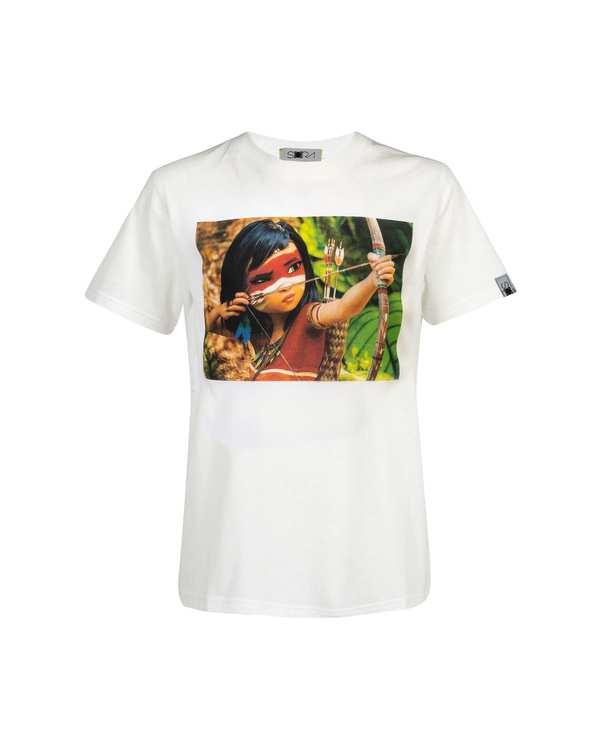 تی شرت دخترانه نخی طرح Ainbo سفید سورا