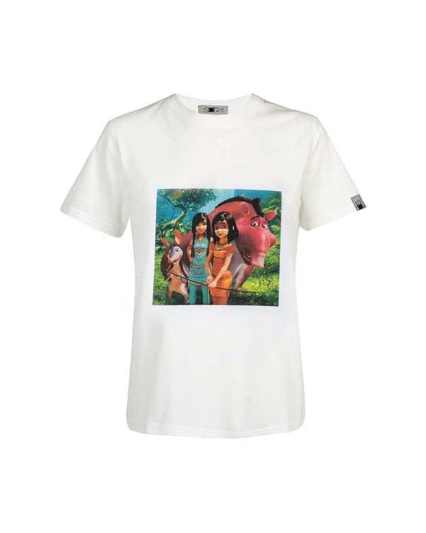 تی شرت دخترانه نخی طرح Ainboسفید سورا