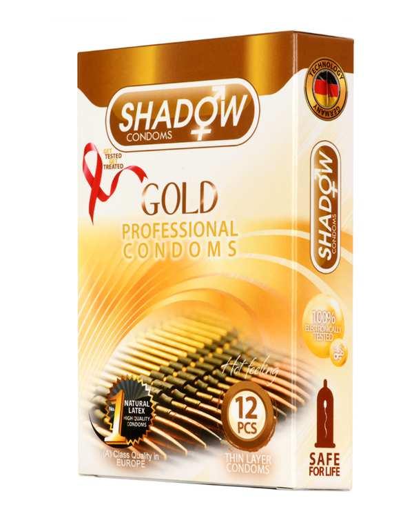 کاندوم طلایی خاردار مدل Gold شادو بسته 12عددی