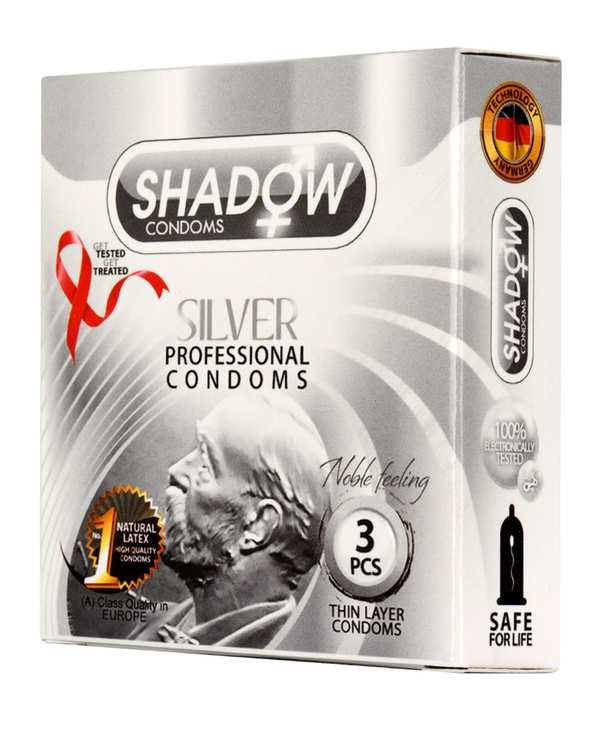 کاندوم تاخیری مدل Silver شادو بسته 3 عددی
