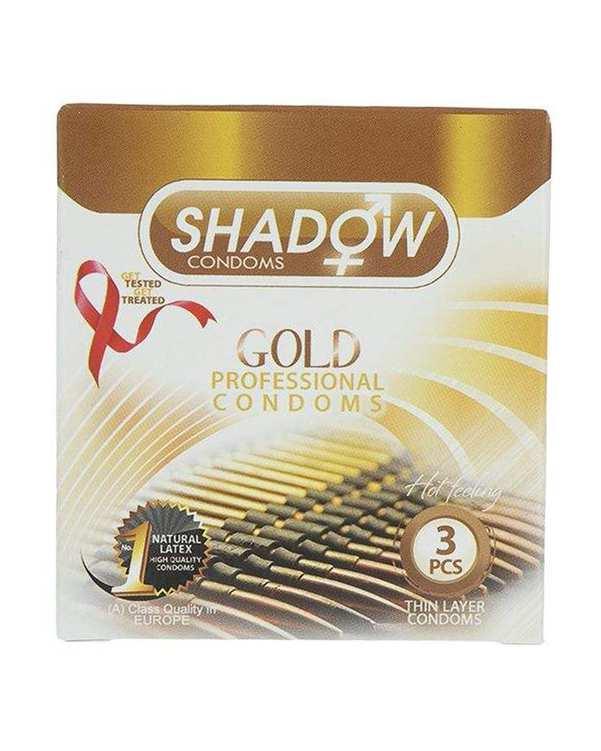 کاندوم طلایی خاردار شیاردار مدل Gold شادو بسته 3 عددی