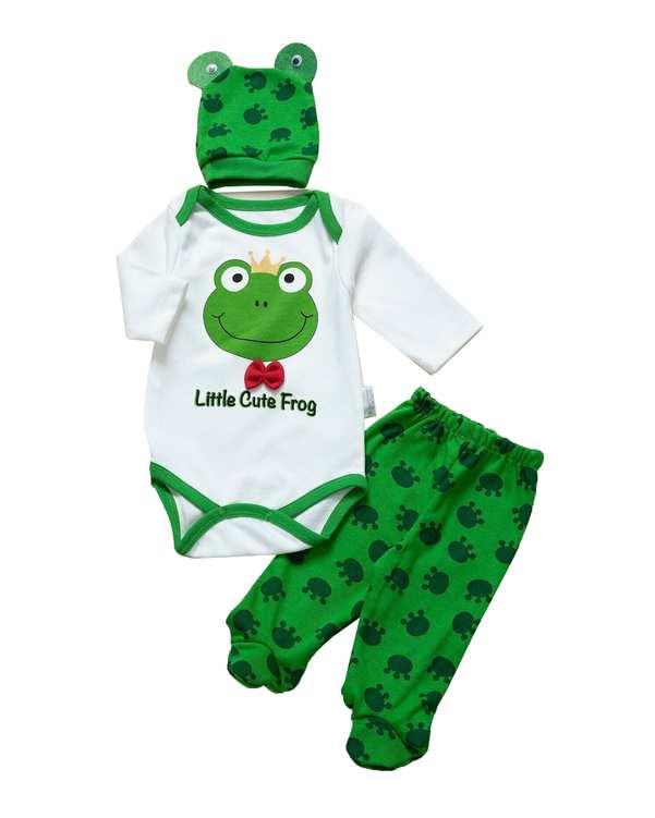 ست سرهمی و شلوار نوزادی سفید سبز مینی برد