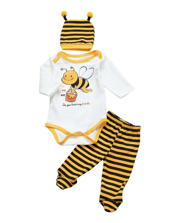 ست سرهمی و شلوار نوزادی سفید زرد مینی برد