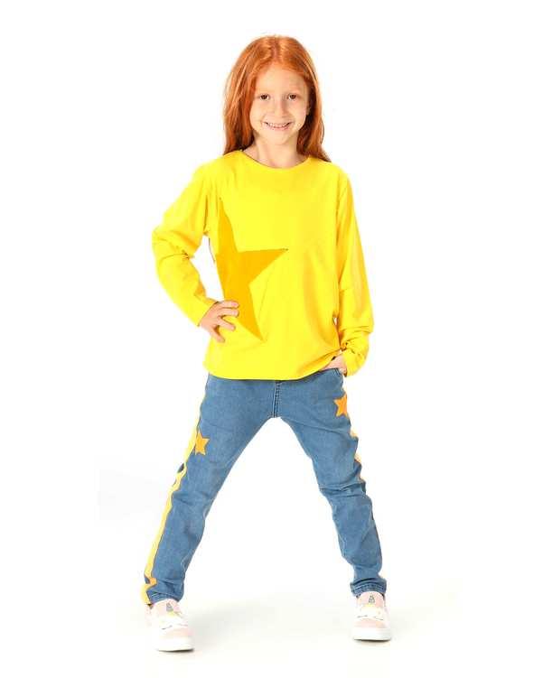 ست سویشرت و شلوار دخترانه زرد آبی لوپیا کیدز