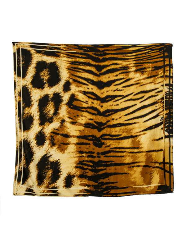 روسری زنانه پاییزه مشکی طلایی پلنگی پیسلی