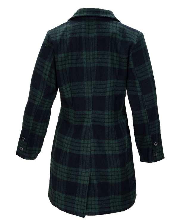 پالتو زنانه پشمی چهارخانه سبز سرمه ای رویال جین