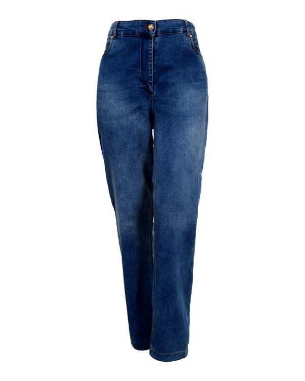 شلوار زنانه جین مام استایل کشی آبی تیره درسا تن پوش