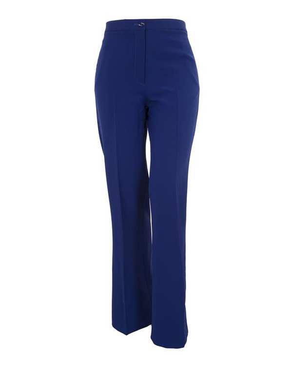 شلوار زنانه دم پا گشاد پارچهای آبی کاربنی درسا تن پوش